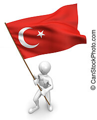 Men with flag Turkey 3d