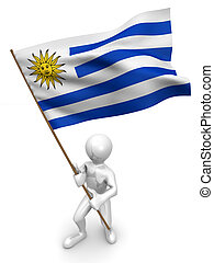 Men with flag. Uruguay