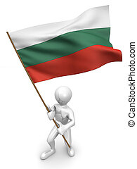 Men with flag. Bulgaria