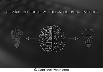 human & circuit brain having different ideas, facts vs...
