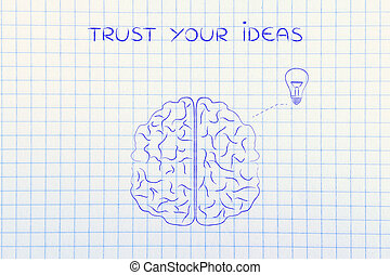 human brain with lightbulb, trust your ideas