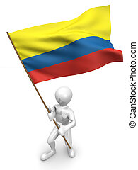 Men with flag. Colombia