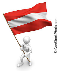 Men with flag. Austria