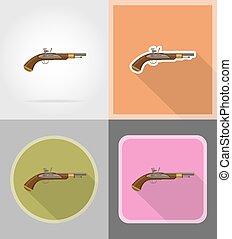 old retro flintlock pistol flat icons vector illustration