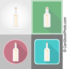 message in the bottle flat icons vector illustration...