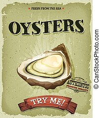 Grunge And Vintage Oyster Shell Poster - Illustration of a...