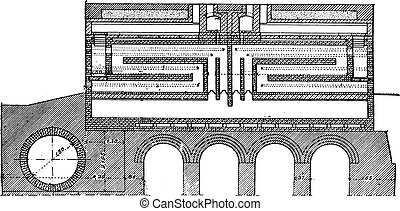 Furnace coke, Collin system, vintage engraving. - Furnace...