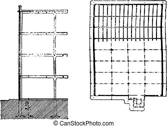 Building section and plan view of spinning, vintage engraving.