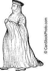 Muslim woman, vintage engraving. - Muslim woman, vintage...