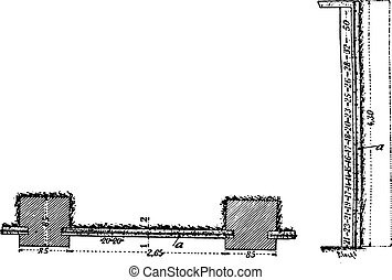 Retaining Wall weapon cement Hennebique system, vintage engraving.