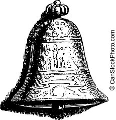 At the Bell, vintage engraving.