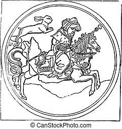 King Rabbit, or Quadrupede, vintage engraving.