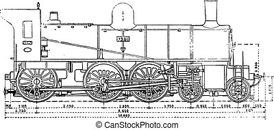 Machine has three axles and the bogey couples, the Western Railway, vintage engraving.