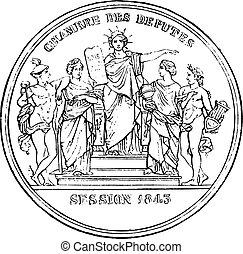 Members of the Chamber of Deputies, vintage engraving -...
