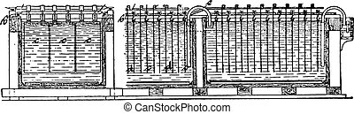 Copper refining bath, after Tofahrn, transverse and longitudinal sections, vintage engraving.