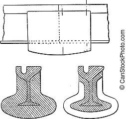 Joint, Falk system, vintage engraving.