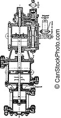Compression pump Fives Lille, vintage engraving. -...