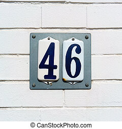 Number 46 - Enameled house number forty six
