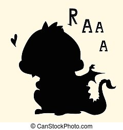 Cute dinosaurs silhouettes set Collection of dino isolated...
