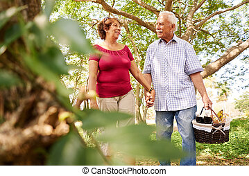 Old Man Woman Senior Couple Walking With Picnic Basket - Old...