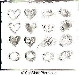 Vector set of silver hearts