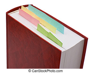 Bookmarks - Red book with bookmarks isolated on white...