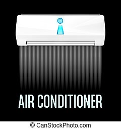 White color air conditioner machine black background Vector...