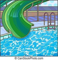 Summer fun aqua park. Water hills in an aquapark. Vector...