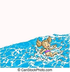 Summer fun in aqua park. - Summer fun aqua park. Happy...