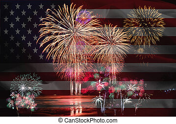 Fireworks infront of American Flag