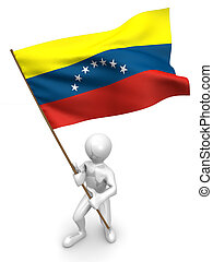 Men with flag. Venezuela 3d