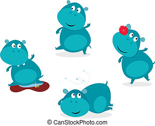 Cute happy blue hippopotamus - Vector cartoon Illustration...