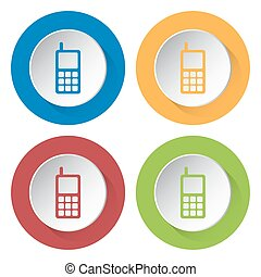 set of four icons - old mobile phone with antenna - set of...