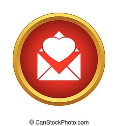 Envelope with heart icon, simple style - icon in simple...