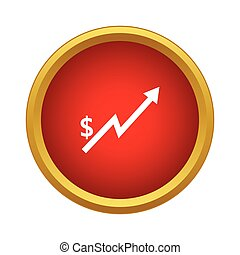 Dollar Increase graph icon in simple style - icon in simple...