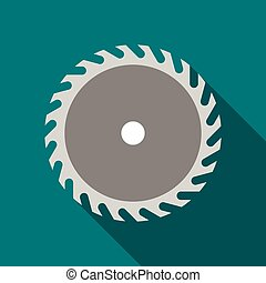 Saw blade icon, flat style - Saw blade icon in flat style...