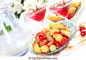 Summer refreshment - Delicious fresh fruits served in bowl...
