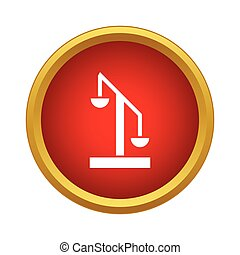 Scale of justice icon in simple style on a white background
