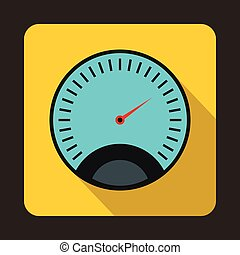 Speedometer with blue background icon, flat style