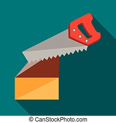 Saw cuts log icon, flat style - Saw cuts log icon in flat...