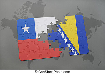 puzzle with the national flag of chile and bosnia and...