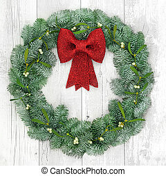 Christmas Wreath Decoration - Christmas wreath with red bow...