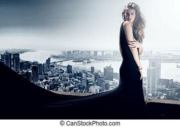 Stylish elegant woman posing in evening dress - Stylish...