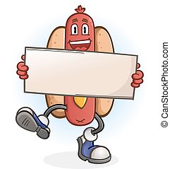 Hot Dog Cartoon Character with Sign - A happy dancing hot...