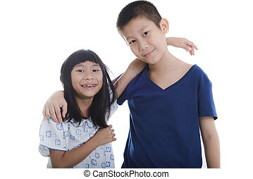 Happy Asian children on white background