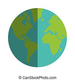 colored earth globe with distinction between water and land...