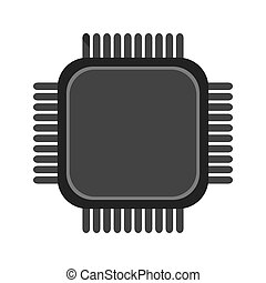simple cpu icon - simple flat design cpu icon vector...