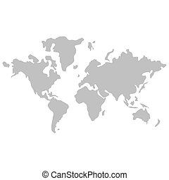 world map with distinction between land and sea icon -...