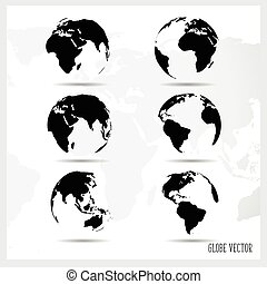 Set of world globe, vector illustration.