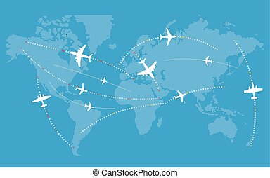 Different jets paths. Civil airplanes trajectories on world...